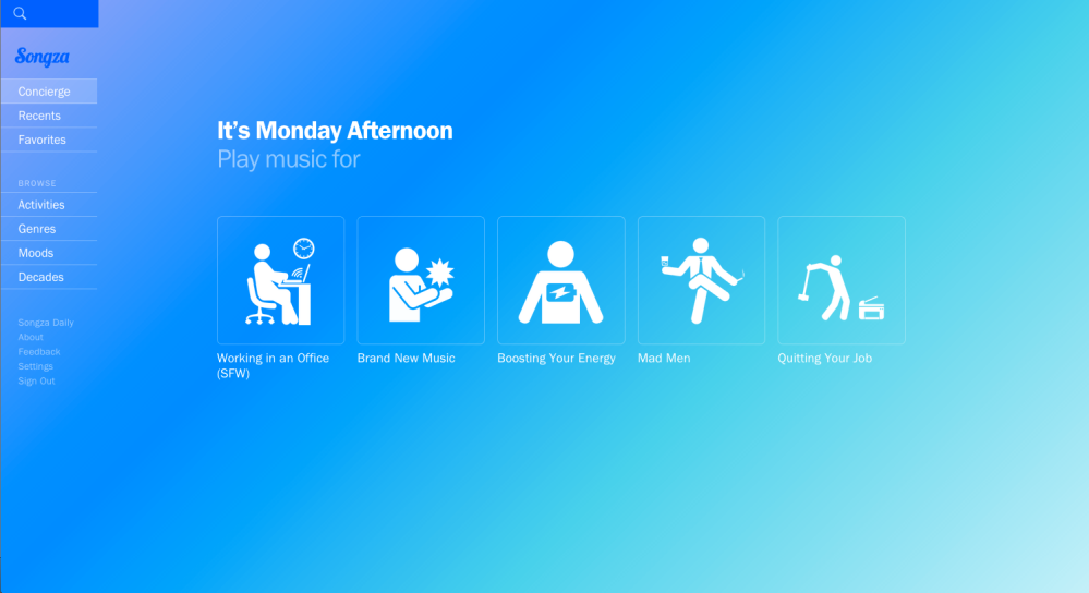 songza home page